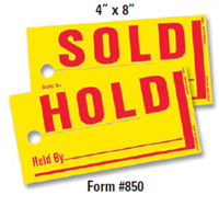 4 x 8 Jumbo Sold/Hold Tags