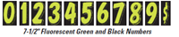 Fluorescent Green and Black Numbered Window Stickers (7-1/2)